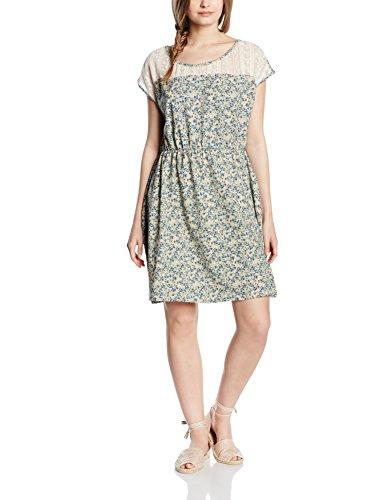 edc by ESPRIT Damen 046CC1E023-mit Spitzendetails Kleid, Blau (Navy 400), 42 (Herstellergröße: XL)