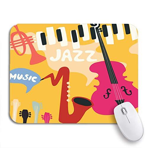 Gaming mouse pad jazz musik festival instrumente saxophon klavier violoncello und trompete rutschfeste gummi backing mousepad für notebooks computer mausmatten