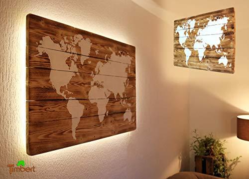 WELTKARTE auf HOLZ mit LED Beleuchtung (optional) Wandbild Handgefertigt Rustikal Weiße Kreidefarbe Ländlich Stimmungslicht Vintage Deko Palette Geschenk Geburtstag Einweihung Vatertag Weltreisende