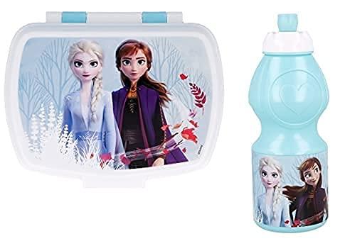 Set Pranzo Scuola 2 Pezzi Portamerenda e Borraccia in Plastica Bambini Bambino Merenda Launch Box - BPA Free (Frozen)