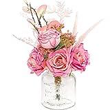 Neazy Artificial Pink Roses Silk Flower Arrangements Centerpiece for Home Farmhouse Decoration Wedding Bridal Bouquet (Flowers Only)