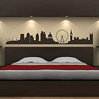 N.SunForest London City Skyline Wall Sticker UK Cityscape Wall Decal Office Bedroom Decor