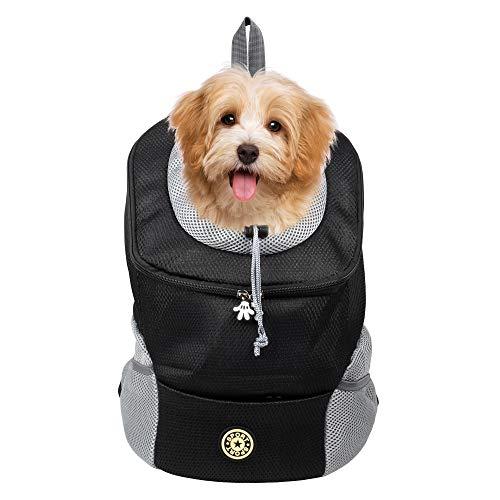 Actume Dog Carrier Backpack, Portable and Comfortable Pet Carrier, Breathable Double Shoulder Dog Pet Bags Backpack, Travelling Pet Holder Bag for Biking, Hiking, Trip, Shopping (S, Black)