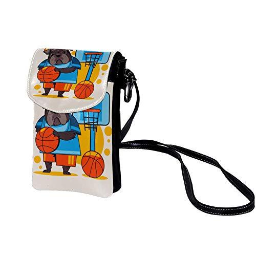 Handy Umhängetasche Hund, Basketball Damen PU Leder Frauen Brieftasche Cross-Body Tasche Schultertasche Klein Handytasche Geldbörse 19x12x2cm