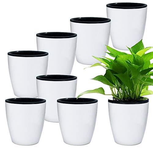 8 Stück weiße Kunststoff-Pflanzgefäße, selbstwässernde Töpfe und Pflanzgefäße mit Innentopf, weißer Blumentopf für Zimmerpflanzen, Blumen, Kräuter, afrikanische Veilchen, Sukkulenten