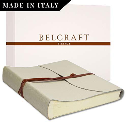 Capri Fotoalbum aus Leder, Handgearbeitet in klassischem italienischem Stil, Geschenkschachtel inklusive, A4 (23x30 cm) Elfenbeinfarben