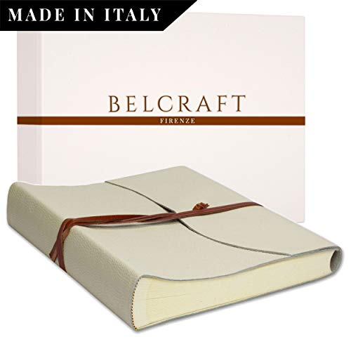 Belcraft Capri Álbum de Fotos de Piel Italiana, Hecho a Mano, Incluye Caja, A4 (23x30 cm) Marfil
