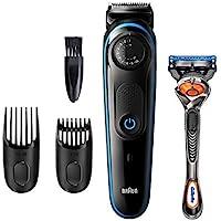 Braun Recortadora de Barba y Cortapelos BT3240, Máquina Cortar Pelo, para Hombre, 39 Ajustes de Longitud, Negro y Azul