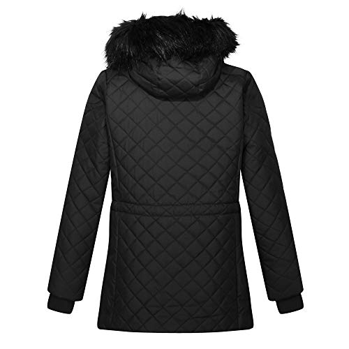 Regatta Women's Zella Insulated Quilted Lined Jacket With Detachable Hood, Black, 8