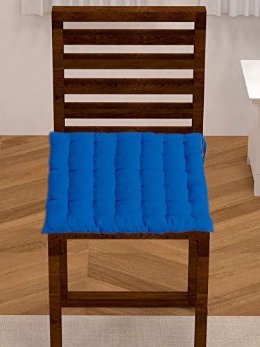 Light Blue Cotton Dining Chair Cushion with 36 Knots & 4 tie Backs. (Dark Blue)