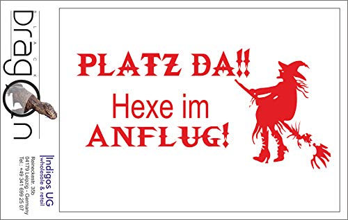 INDIGOS UG Aufkleber Autoaufkleber - JDM Die Cut Auto OEM - Platz da!! Hexe im Anflug! - 210x100mm rot - Auto Laptop Tuning Sticker Heckscheibe LKW Boot