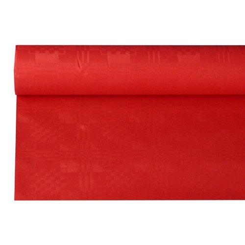 Papstar #18598 Papieren tafelkleedrol met damast reliëf, rood (1 stuks), 8 x 1,2 m, eenvoudig op maat te snijden, voor huishouden of alle outdoor-evenementen