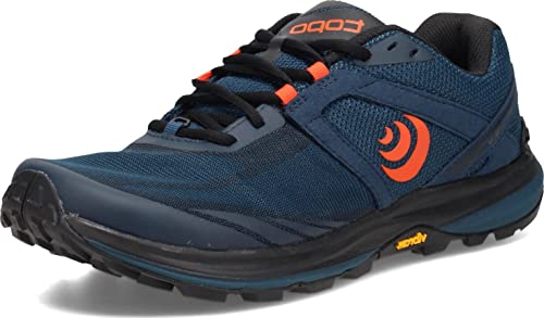 Topo Athletic Men's Terraventure 3 Comfortable Cushioned Durable 3MM Drop Trail Running Shoes, Athletic Shoes for Trail Running, Navy/Orange, Size 10