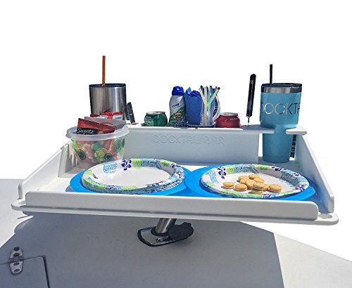 Docktail Bar Boat Utility Table with Cup Holders and Storage - Mounts in Rod Holders - Package Includes Fully Adjustable Rod Holder Mount - Perfect Boat & Marine Grill Accessory - Portable