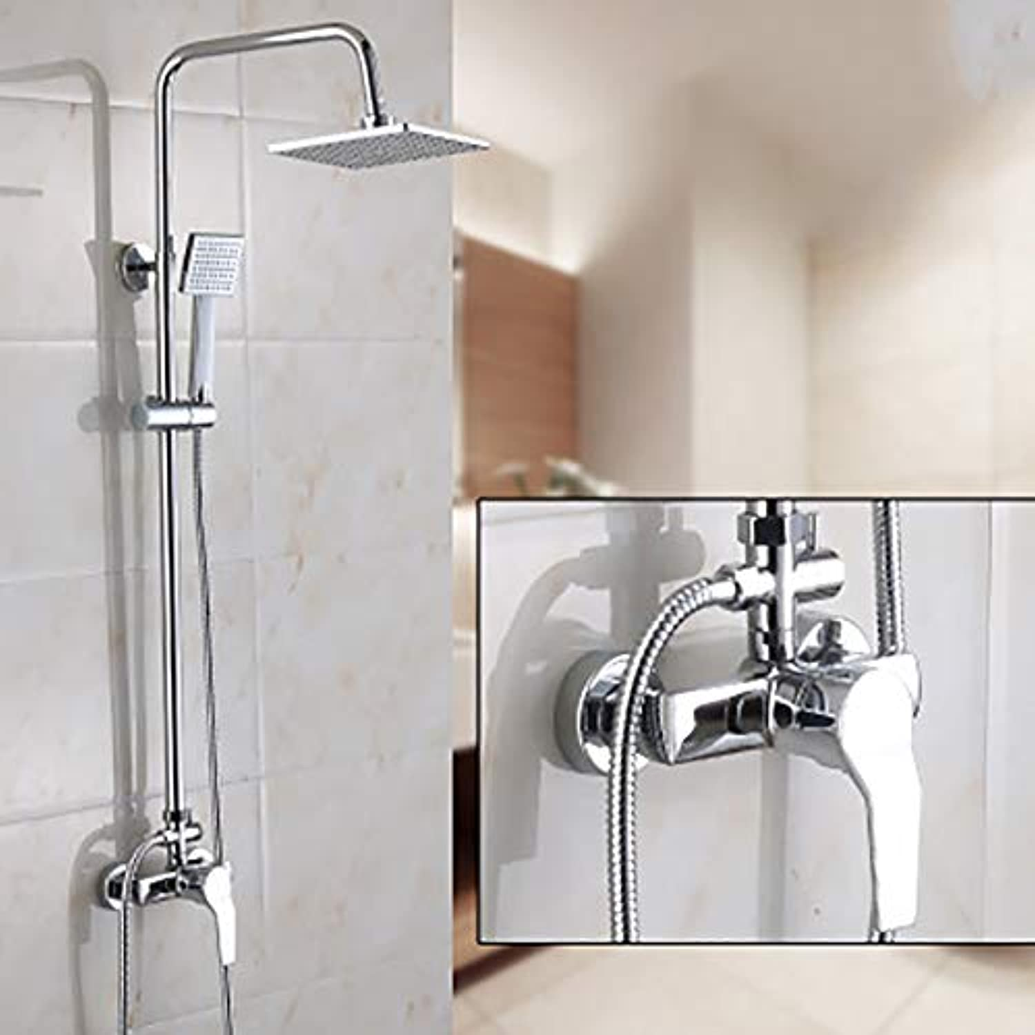 LSHUAIDJ Shower Mixer 3 with Shower Set with Shower Holder, Shower System Main Body Copper, Square Adjustable Shower Holder Rail Chrome-Weiß1