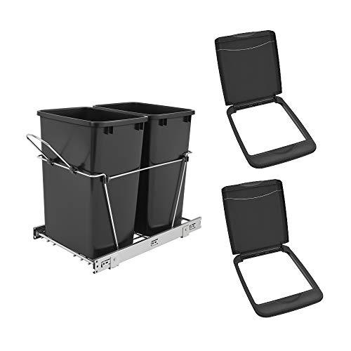 Rev A Shelf Double 35 Quart Sliding Pull Out Waste Bin & Waste Bin Lid (2-pack)