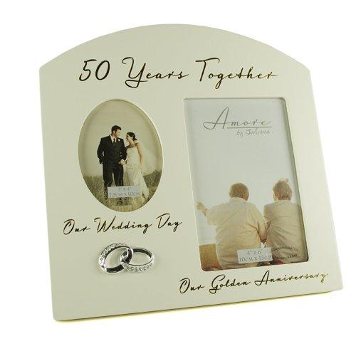 Geschenk zum 50. Goldenen Hochzeitstag, Hochzeitsgeschenk, Bilderrahmen zum Andenken für 2 Bilder.