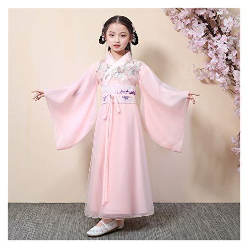 Vestido Hanfu para nia, falda de verano, elegante, de gasa, disfraz de princesa, disfraz de princesa (color: estilo E, tamao: 140 cm)