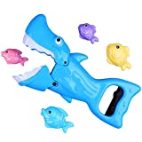 Shark Gabber Baby Bath Toy-White Shark(Blue Color) with 4 Fish includ Preschool Bath Toys for Kids Boys Girls or Toddlers for Age 3+