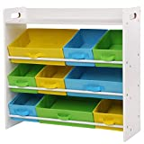 SONGMICS Childrens Room <span class='highlight'>Storage</span> <span class='highlight'>Storage</span> <span class='highlight'>Storage</span> <span class='highlight'>Storage</span> Toy Organiser with 9 Removable Non-Woven Baskets Toy Bookshelf for <span class='highlight'>Kids</span> Room White Frame GKR31WT