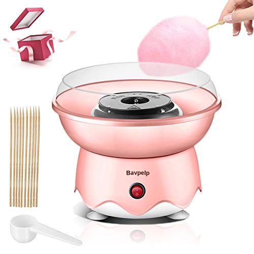 Cotton Candy Machine for Kids Bavpelp Professional Cotton Candy Maker with Hard and Sugar Free Countertop Cotton Candy Maker for Birthday Family Party Includes 10 Reusable Cones and Sugar Scoop