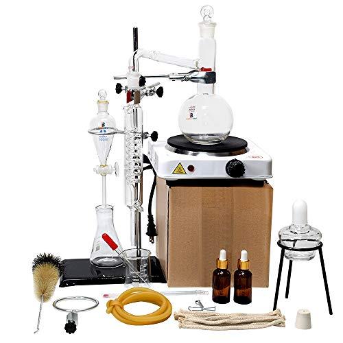 Aparato de destilación de extracción de aceite esencial de laboratorio de 500 ml con estufa caliente, destilador de agua, purificador, kits de cristalería de laboratorio, destilador de alcohol