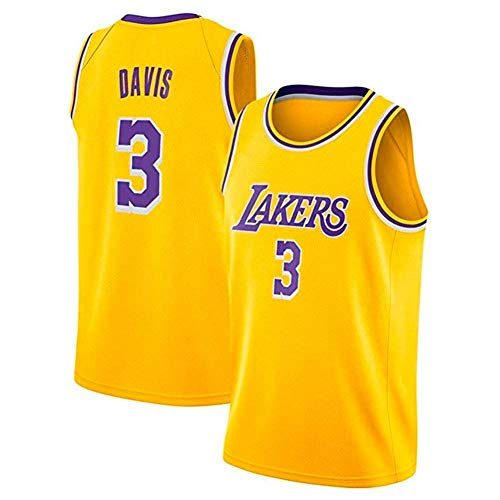 XH-Sport Anthony Davis #3 - NBA Los Angeles Lakers mannen Basketball Classics Jerseys - Cool ademende stof geborduurd Swingman Shirt, E,XL(185CM/85~95Kg)