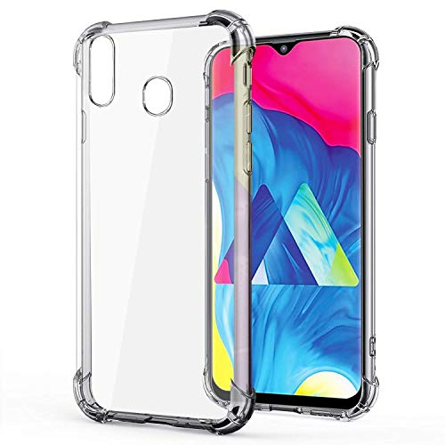RKINC Funda para Samsung Galaxy M20, Esquinas reforzadas Funda de TPU de cojín Suave Funda de Silicona Transparente Ultra Fina, Ligera, Flexible y Resistente a los arañazos para Samsung Galaxy M20