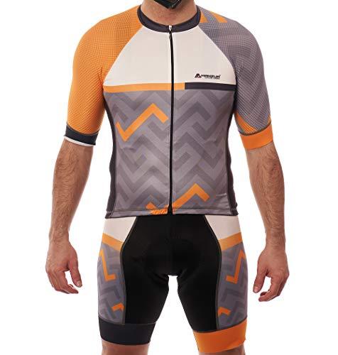 Manzur Cycling Design Completo di maglia da ciclismo, tessuto ultraleggero italiano di ultima generazione, trattamento igienico sanitario, fondello Coolmax con tecnologia X-Static. Completo 1509 S