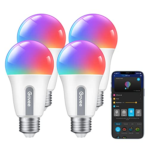 Govee Smart Light Bulbs, WiFi & Bluetooth Music Sync Color Changing Light Bulbs, No Hub Required LED Bulbs, Dimmable & Tunable, Work with Alexa & Google Assistant, 9W 60W Equivalent A19 800lm, 4 Pack