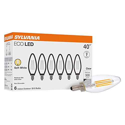 SYLVANIA ECO LED B10 Light Bulb, 40W Equivalent, Efficient 4.5W, 7 Year, 300 Lumens, Non-Dimmable, Clear, 2700K, Soft White - 6 Pack (40878)