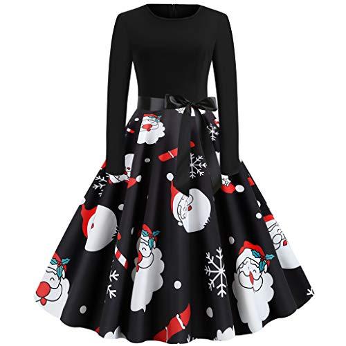 YBWZH 2019 Kleider Damen Weihnachtskleid Weihnachtsknopf Langarm Bedruckt Vintage Rock Kleid Weihnachten 1950er Jahre Hausfrau Abendgesellschaft Kostüm Swing Party Abendkleid Cocktailkleid