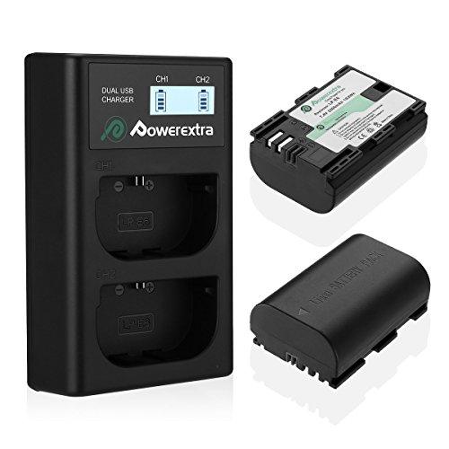 Powerextra LCD Dual Ladegerät und 2 Stück Ersatzakku für Canon LP-E6 zu Canon EOS 60D 60Da 70D 80D 5D Mark II III 6D 7D Mark II