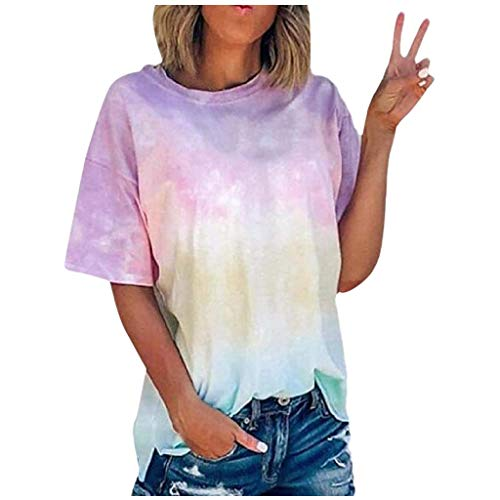 Women Vintage Elegant Tops Summer Daily Short Sleeve Beach Print T-Shirt(Pink,4XL)
