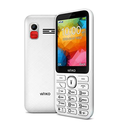 Wiko F200 Téléphone portable débloqué 2G (Ecran 2,8 pouces - Batterie 1200 mAh - Bouton SOS et socle de chargement) White