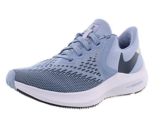 Nike Women's Air Zoom Winflo 6 Running Shoes (9, Indigo/Blue-Platinum)