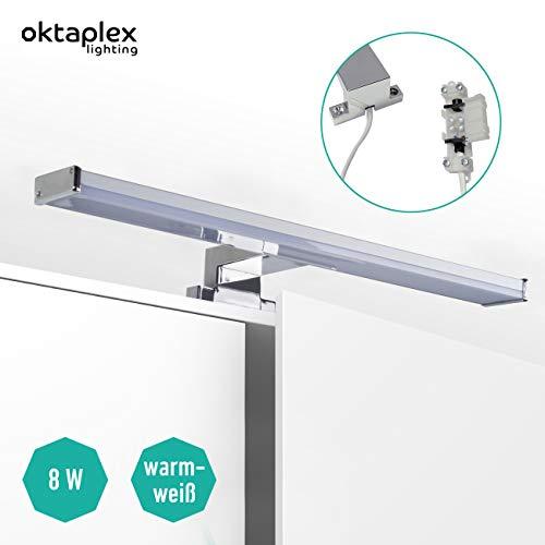 LED Spiegelleuchte BALI S 8W   Badezimmer Lampe Spiegel 40cm   Badlampe IP44 640lm für Spiegelschrank warmweiß Oktaplex Lighting mit Anschlussbox