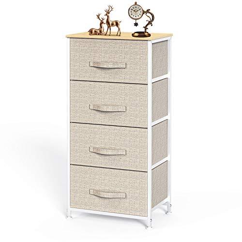 Pipishell Kommode Schmal Schrank mit 4 Schubladen aus Stoff, praktische Aufbewahrungskommode, Ordnungsmöbel für Schlafzimmer, Kinderzimmer, Flur, Wohnungseingang, Beige