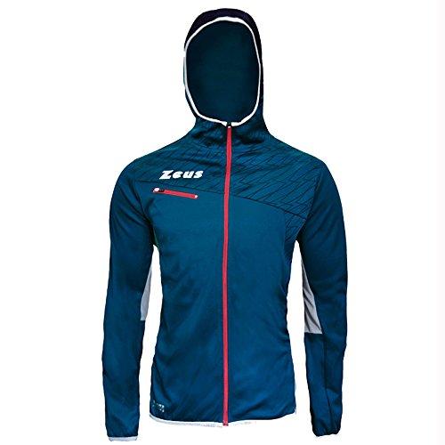 Jacket Atlante Zeus Giacca Cappuccio Corsa Sport Uomo Running Jogging Calcio Calcetto (Blu-Rosso-Grigio, L)
