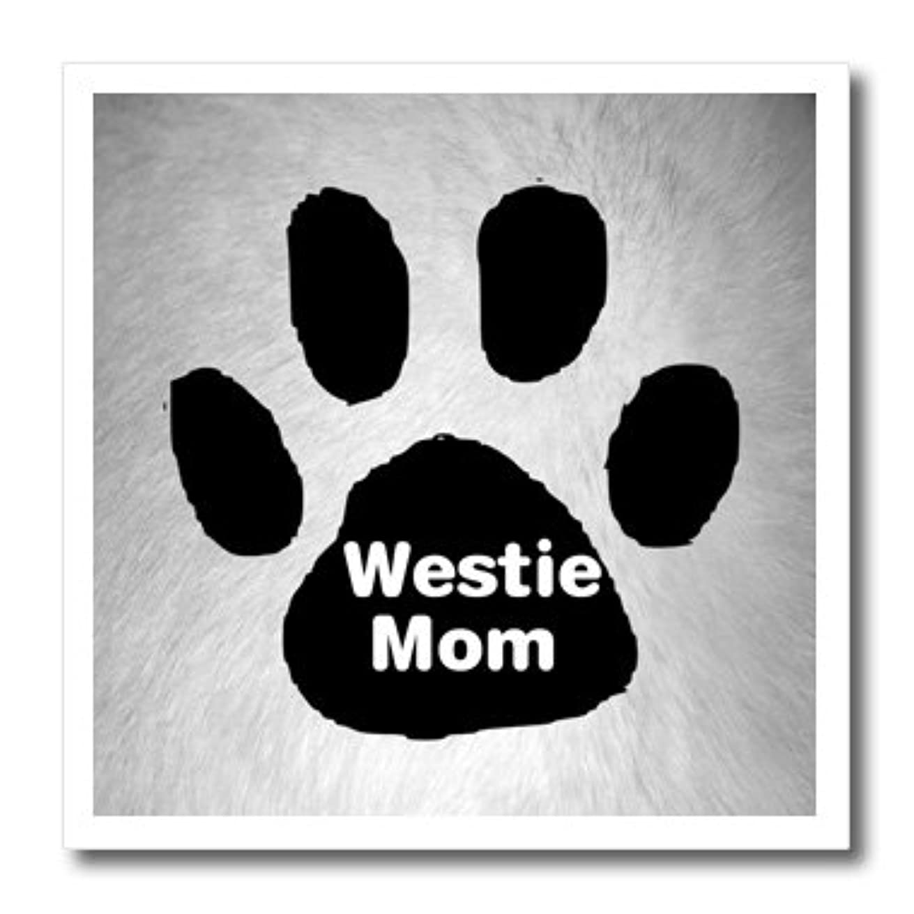 3dRose ht_161300_2 White Dog Hair with Paw and Westie Mom Iron on Heat Transfer Paper for White Material, 6 by 6-Inch