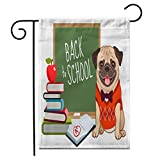 Adowyee 12'x 18' Garden Flag Pug Dog Back to School Cartoon Cute Friendly Pug Puppy Smiling with Tongue Out Wearing Outdoor Double Sided Decorative House Yard Flags