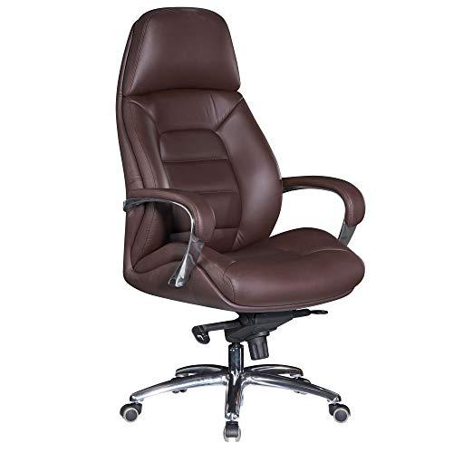 AMSTYLE Sedia da ufficio in vera pelle, colore marrone, portata fino a 120 kg | XXL Design regolabile in altezza | Sedia girevole ergonomica con braccioli e schienale alto | funzione basculante