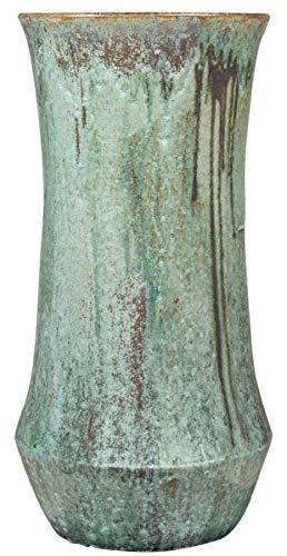 Casa Padrino Jugendstil Blumentopf Opal Grün Ø 43 x H. 87 cm - Handgefertigter runder Terracotta Pflanzentopf - Garten & Terrassen Deko Accessoires