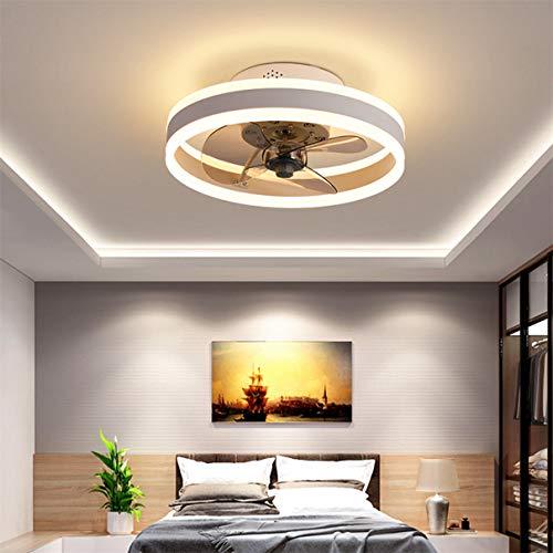 YAOXI - Ventilador de techo con mando a distancia reversible y moderno LED para salón, silencioso, 3 aspas de ventilador de techo, color blanco