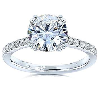 Kobelli Forever One Moissanite and Lab Grown Diamond Engagement Ring 2 1/10 CTW 14k White Gold  DEF/VS  4
