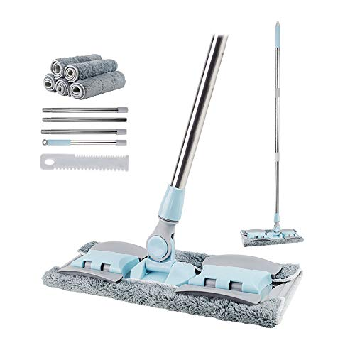 Egeen Professional Microfiber Mop, Hardwood Floor Mop, Stainless Steel Handle, 5 Pieces Flat Washable for Home/Office Floor Cleaning