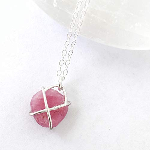 Raw Ruby Crystal Charm Necklace - 18 Inch - Sterling Silver - Gift for Her - July Birthstone