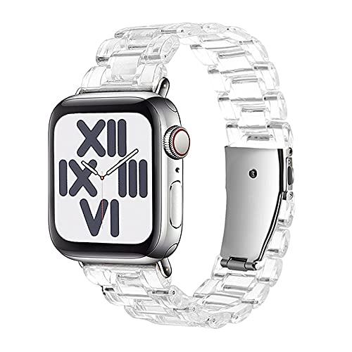 CHENPENG Correa de Resina Transparente Compatible con Apple Watch 1/2/3/4/5/6 / SE Correa de Pulsera de Repuesto de Moda con Hebilla de Acero Inoxidable Mujer Hombre,A,38MM