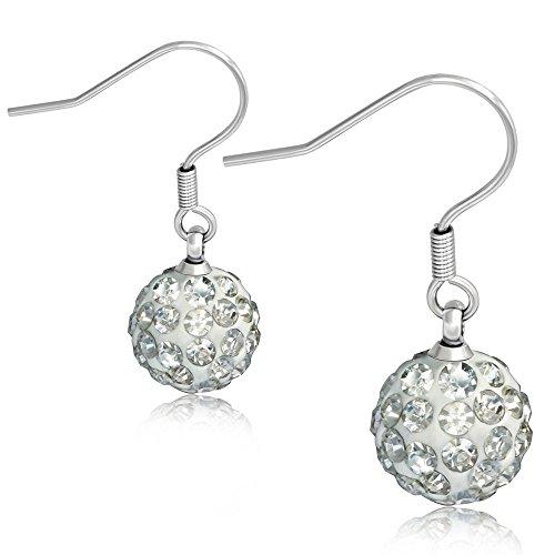 Bungsa Earrings with Ferido Disco ball - Stainless Steel Hanging Ear-studs for Women
