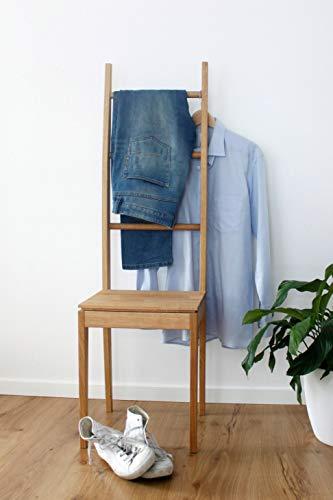 Kleiderstuhl Massivholz Eiche - Stummer Diener, Handtuchleiter, Handtuchstuhl, Herrendiener, Handtuchhalter, Kleiderbutler